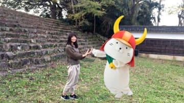 アプリ「ひこにゃんWITH」で取得したひこにゃんの画像を使った写真(彦根市・彦根城)