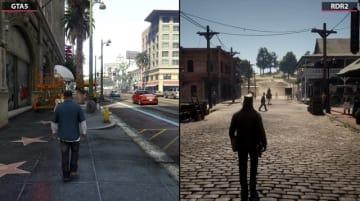 技術の進化が分かる『レッド・デッド・リデンプション2』と『グランド・セフト・オートV』の比較映像!