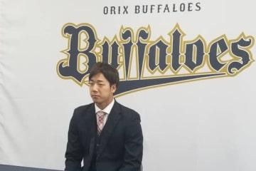 契約更改に臨んだオリックス・岩本輝【写真:橋本健吾】