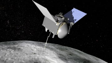 小惑星ベンヌを観測する探査機オシリス・レックスの想像図(NASA提供・共同)