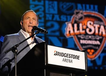 Caption:NASHVILLE, TENNESSEE - JANUARY 28: NHL Commissioner Gary Bettman speaks at the Grand Opening Ceremony of the 2016 NHL All Star Festivities at the Bridgestone Winter Park Honda Stage at IntelliCentrics Outdoor Concert Series on January...