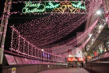 横浜・弘明寺商店街に「桜の光」やさしい桜色LED電球でイルミ点灯!