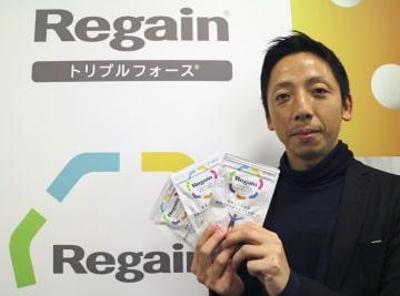 第一三共ヘルスケアが発売する錠剤「リゲイン トリプルフォース」=5日、東京都中央区