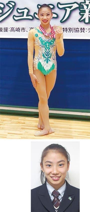 (上)大会終了後、メダルを手に笑顔を見せる(右)光明相模原の制服姿の山田さん