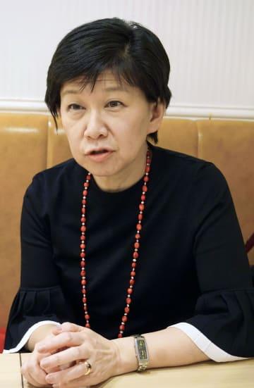 インタビューに応じる国連の中満泉事務次長=6日、東京都渋谷区
