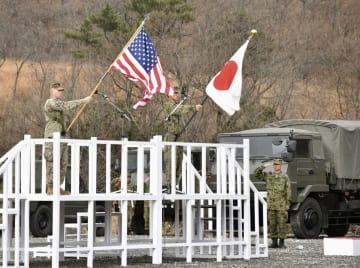 大分県の日出生台演習場で行われた、陸上自衛隊と在沖縄米海兵隊による日米共同訓練の開始式=7日午前