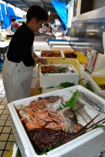 【出荷に向けて新鮮な魚介類が詰め込まれた水炊きセット=尾鷲市中井町のはし佐商店で】