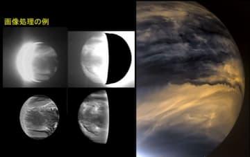 解析では、2016年3月から11月まで、全466枚の金星夜面画像を波長2.26マイクロメートルの画像を用い、模様を測定しやすくするために昼面から広がっている光を除去したという。(C)JAXA / ISAS / DARTS / DamiaBouic