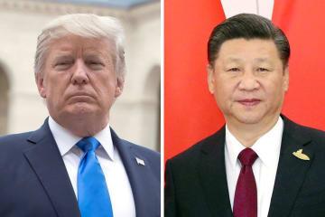 トランプ米大統領(ゲッティ=共同)、中国の習近平国家主席