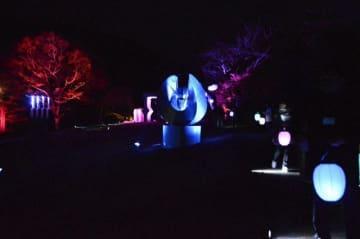 作品が幻想的に浮かび上がる彫刻の森美術館の「箱根ナイトミュージアム」=箱根町二ノ平