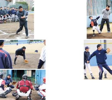(右上から時計回り)ピッチングを指導する杉内俊哉氏。捕球から送球するステップなどを教える内藤雄太氏。ワンバウンドの止め方やキャッチングを手本を示しながら伝える實松一成選手。捕球姿勢を教える脇谷亮太氏。バットは両手で振ることと実践で示す村田修一氏