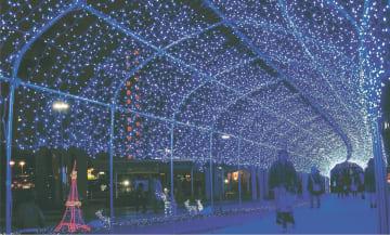 多賀城駅前にできた光のトンネル