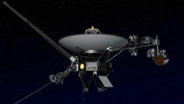 飛行するボイジャー2号のイメージ(NASA提供・共同)