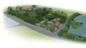 奈良市高畑町の県有地に整備される予定の宿泊施設や飲食施設のイメージ図(奈良県提供)