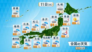 11日夜以降、東日本の内陸や東北で雪の所も 路面凍結等に注意