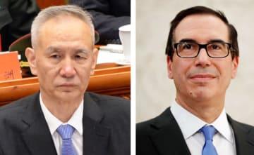 中国の劉鶴副首相(左)、ムニューシン米財務長官(ロイター=共同)