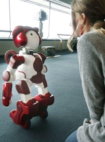 横浜ランドマークタワーで披露された日立製作所の人型ロボット「EMIEW3」=11日午後
