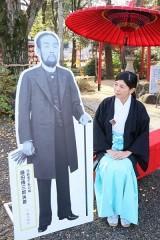 藤田神社に伝三郎の等身大パネル
