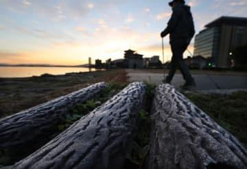 県内全域で今季最低の冷え込みとなり、琵琶湖岸には霜が降りた(11日午前6時55分、大津市島の関・なぎさ公園)