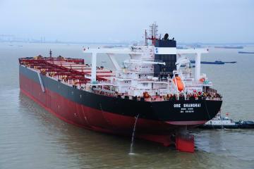 40万トン級の鉱石運搬船が出航 江蘇省