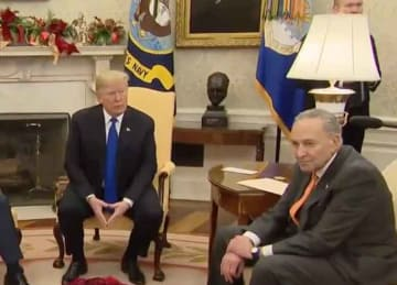 Trump Pelosi & Schumer meet in Oval Office for immigration, border wall and government shutdown talk