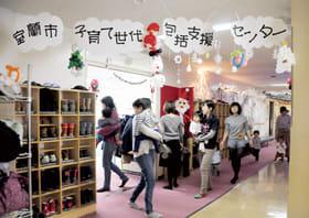 市子育て世代包括支援センターの入り口や廊下に飾られているバルーンアート