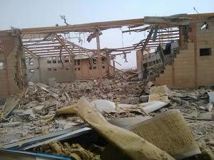 空爆されたコレラ治療センター (アブス、2018年6月撮影)© MSF