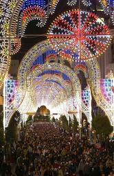 鮮やかな電飾が夜空を彩った神戸ルミナリエの会場=7日夜、神戸市中央区(撮影・辰巳直之)