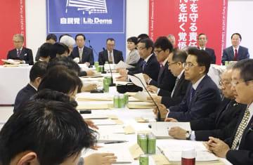 自民党本部で開かれた税制調査会の会合=12日午後、東京・永田町