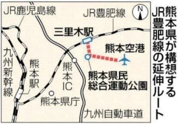 熊本空港への豊肥線延伸計画概要 全長10キロ、事業費380億円 1日6900人の利用想定 [熊本県]