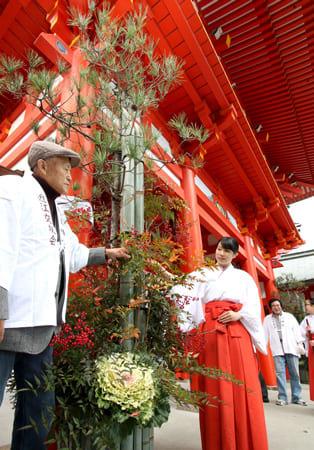 葉ボタンやナンテンが飾り付けられた楼門前の門松(13日午前10時15分、大津市神宮町・近江神宮)