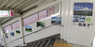 我孫子駅南口階段の壁面に展示