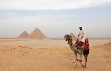 エジプト・カイロ郊外にあるギザのピラミッドで、客を待つガイド=10月(ロイター=共同)