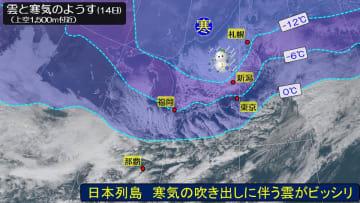 強い冬型の気圧配置 寒気の吹き出しに伴う雲がビッシリ