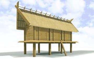 地中梁が使用されていた古墳時代の建物を復元したCG(提供・鳥取県教育文化財団、図作成・公立鳥取環境大浅川研究室)