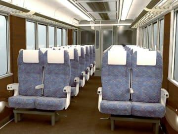 JR西日本が新快速電車に導入する有料座席サービスの車内イメージ