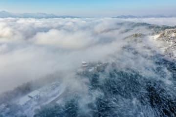大別山の「竹の海」、一面の雪景色 安徽省霍山県