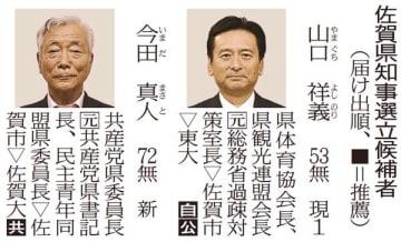 【佐賀】佐賀県知事選、16日に投開票