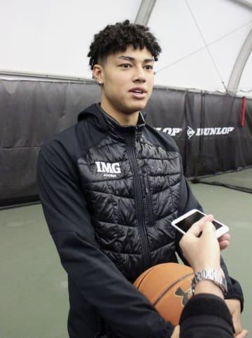 バスケットボール男子でIMGアカデミーに留学中の田中力=14日、米フロリダ州ブラデントン(共同)