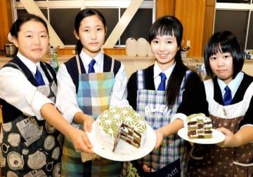 美川地区特産のお茶を使ったケーキでコンテストの佳作を受賞した上浮穴高生