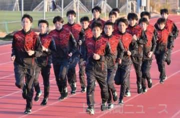 本戦へ向け、順調な仕上がりを見せる上武大駅伝部の選手=上武大伊勢崎キャンパス