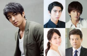 2020年公開の映画「AI 崩壊」に出演する(左から時計回りに)大沢たかおさん、賀来賢人さん、岩田剛典さん、三浦友和さん、広瀬アリスさん
