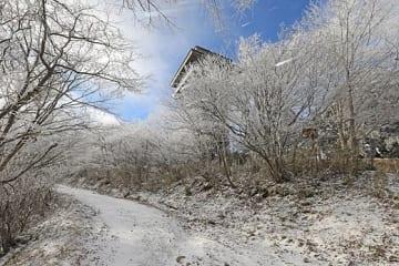 【積雪と霧氷で真っ白になった護摩壇山の頂上付近。時折、横殴りの雪が降る(15日午前8時半ごろ、和歌山県田辺市龍神村で)】