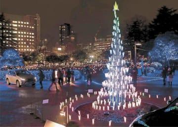 青、白、ピンクなど多彩な色に輝く光のツリー=14日午後5時15分ごろ、仙台市青葉区の勾当台公園