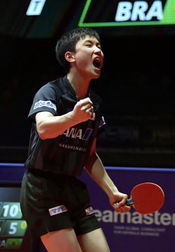 男子シングルスで決勝進出を決め、雄たけびを上げる張本智和=仁川(共同)