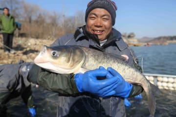 冬の漁に勤しむ漁民たち 山東省沂南県