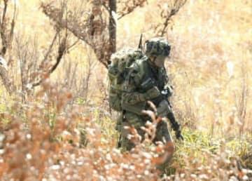 日出生台演習場で日米共同訓練をする陸自隊員=15日、玖珠町