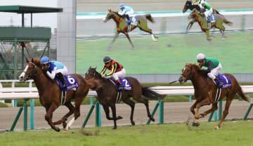 第70回朝日杯フューチュリティステークスで優勝したアドマイヤマーズ(左)=阪神競馬場