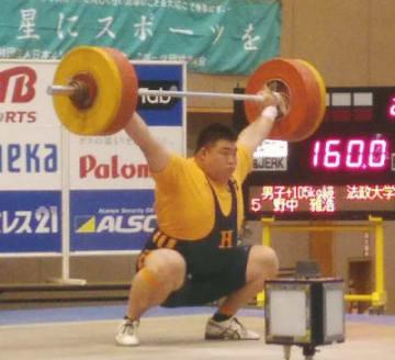 105キロ超級で優勝した法政大の野中雅浩=埼玉県上尾市のスポーツ総合センター