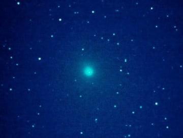 青緑色の光を放つウィルタネン彗星=16日午前3時半、宇佐市四日市で撮影(渡辺一司さん提供)